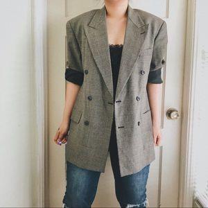 Vintage Black Boyfriend 100% Wool Blazer Jacket